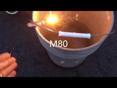 Water bucket test for firecracker, M80, and M5000.  July 4th.