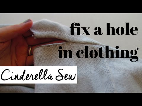 How to repair a rip in clothing - Sew torn clothes - No machine - Fix a hole with hand sewing
