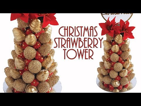 Gold Christmas Strawberry Tower- Rosie's Dessert Spot