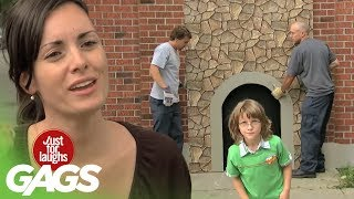 Kid Disappears In Brick Wall Prank - Just For Laughs Gags