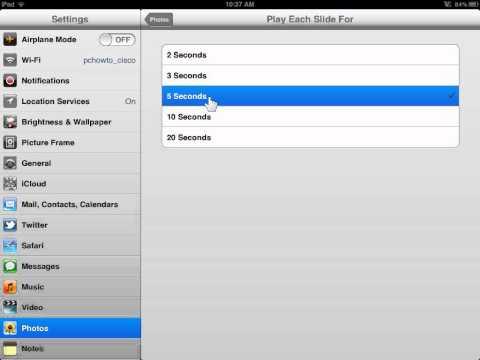 Apple iPad Set Slideshow Options