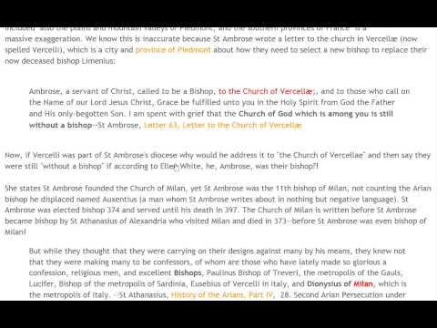 Ellen G White: On the Pope, Sabbath, Bad History.Part 1
