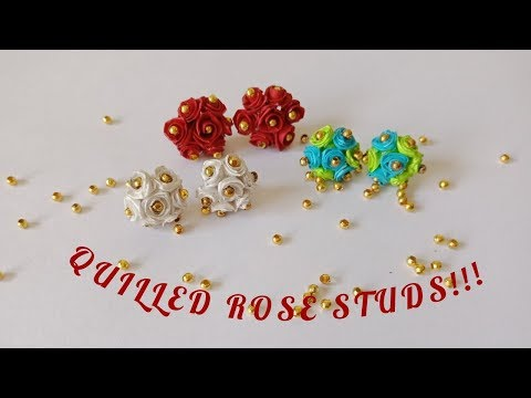Make easy and cute mini quilled red rose flower stud earrings  | DIY craft embellishment