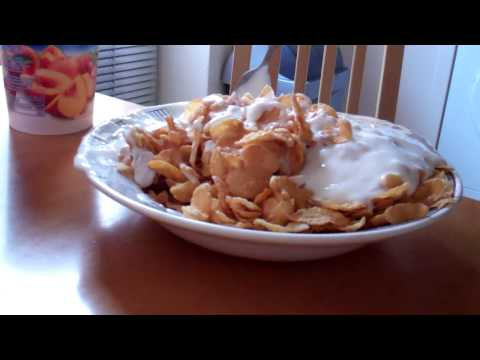 Corn Flakes and Yogurt. How to make cheap & tasty Breakfast 720P HD video  Yoghurt
