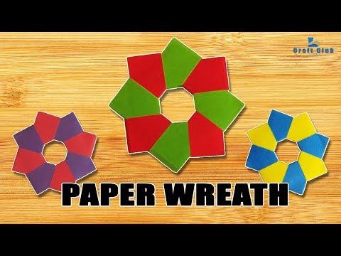 DIY Christmas Ornament | Paper Wreath 8 unit modular origami | easy ornament ideas Lina's Craft Club