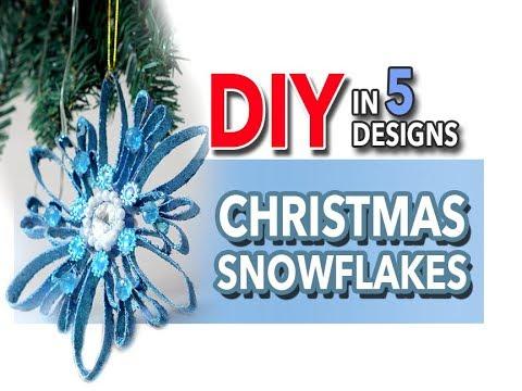 ☃️❄️ Christmas 🎄 DIY Snowflakes in 5 Designs!❄️☃️