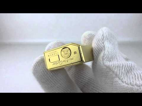 Rare Pentagon 1970-90 Gold Plated Must de Cartier Lighter Ping Sound and Presentation