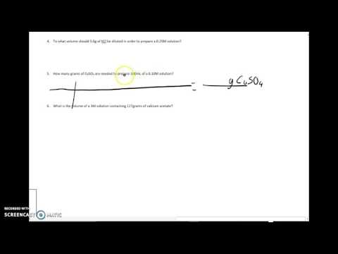 Calculating mass or volume using molarity