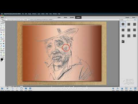 Etched effect on copper  in Photoshop Elements