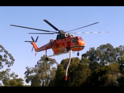 Perth Hills bushfire - Erickson Air Crane taking off from Glen Forrest Oval after refuelling.