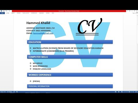 How To Make Resume / CV with Microsoft Word