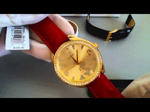 Women's Guess Interchangeable Leather Strap Watch Set U0352L4