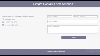 How To Design Contact Us Page in Html and Css | How To Create Contact Form  and Page In Html