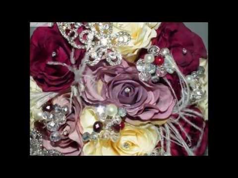 Beautiful Artificial Silk & Crystal Wedding Bouquets