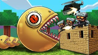 Minecraft | KILLER PACMAN BASE DEFENSE CHALLENGE! (Pacman.EXE Army vs Fort)