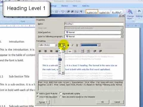 MS Word 2007: Structuring thesis using styles and table of contents