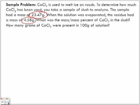 Concentration of Solutions: Mass/Mass % (m/m)%