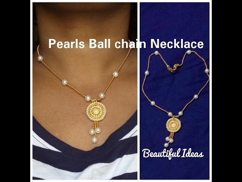 How To Make Pearls Gold  Ball Chain Necklace / Pearl Pendent Set at Home ..Easy and Simple Method..