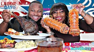 BBQ GRILLED 53 oz RIBEYE STEAK, LOBSTER & SHRIMP