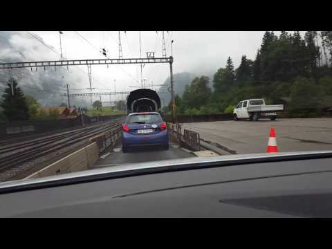 Driving onto a train in Switzerland!
