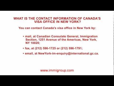 What is the contact information of Canada's visa office in New York?