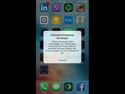 Uber Untrusted Enterprise Developer Driver App Fix on IOS 9 or Higher