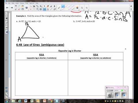 Precalculus Unit 6.4 Notes Area Formula for Oblique Triangles