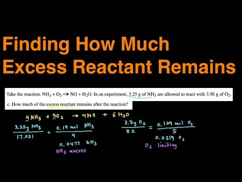 How to Find How Much Excess Reactant Remains