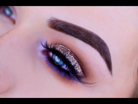 Bronze Glitter and Purple Eye Tutorial   Nyx Cosmetics