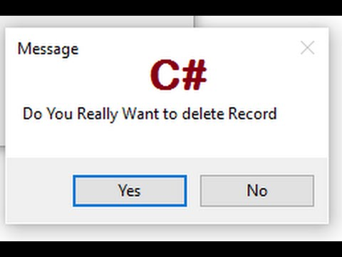 Confirmation Message Box In C#