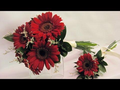 Burgundy Gerbera Daisy Wedding Bouquet