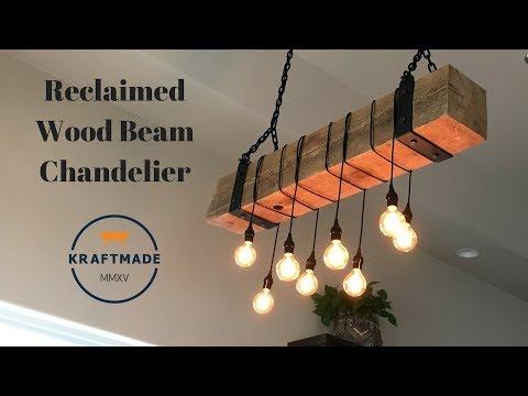 Reclaimed Wood Beam Chandelier - Kraftmade