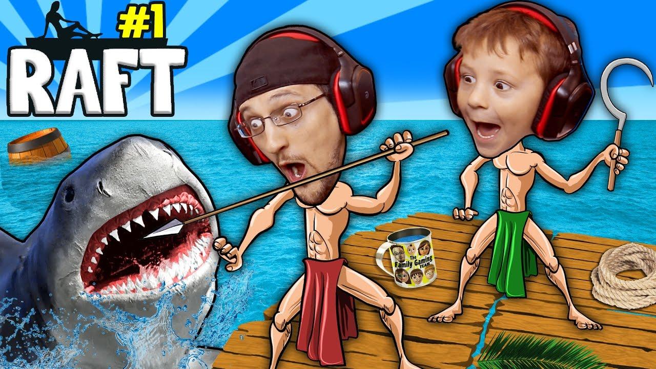 SHARK SONG on RAFT! Survival Game w/ Baby Shawn in Danger! 1st Night Minecraft? FGTEEV Gameplay/Skit