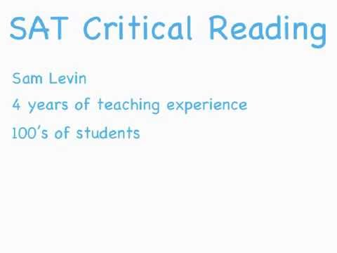 Learn Course SAT Critical Reading score tips Tutorial Videos