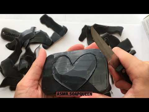 CARVING A SOFT BLACK SOAP INTO HEART SHAPE ASMR- SATISFY YOUR SPINE