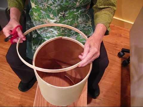 Cardboard Tube Drum:gluing the wooden hoops (1)