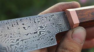 Knifemaking ~ Damascus Sujihiki kitchen knife (forged using a flypress)