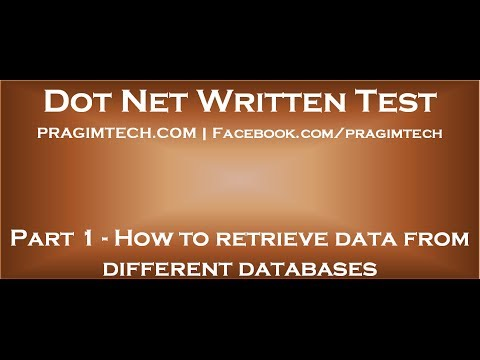 Part 1   How to retrieve data from different databases in asp net