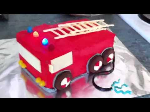 Flashing Fire Engine Cake