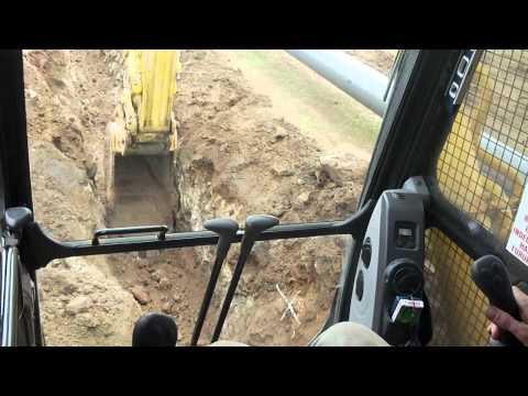 In-cab of excavator trenching