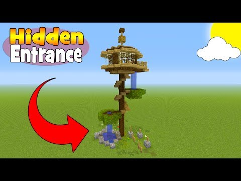 Minecraft Tutorial: How To Make A Tree House With a Hidden Entrance
