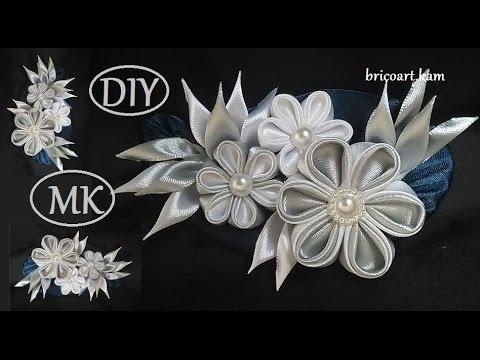 DIY/Kanzashi Brooch tutoriel/Ribbon flower/Brooch/MK/канзаши: bricoart.kam