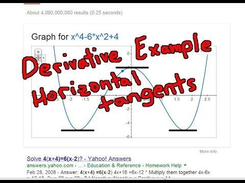 Derivatives Example: Horizontal Tangent Lines