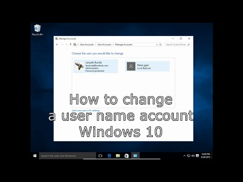 How to change user name account in Windows 10