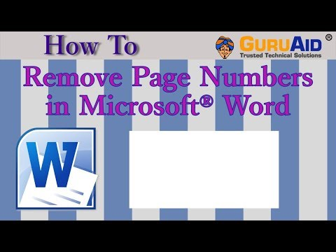 How to Remove Page Numbers in Microsoft® Word - GuruAid