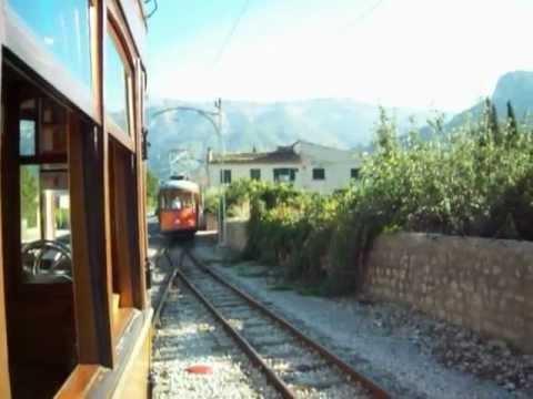 Soller to Port Soller Train Tram passing loop one Mallorca Majorca Spain