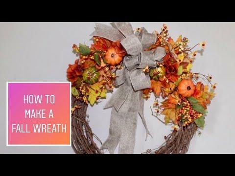 FALL WREATH DIY  2018 / DOLLAR TREE / How To Make A Fall Wreath Under $20 Dollars ( Easy Steps )