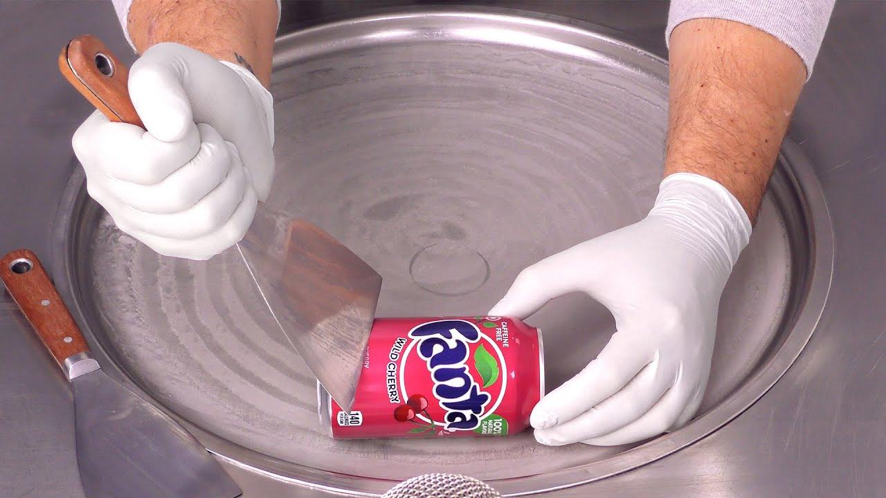 Fanta Cherry Ice Cream Rolls | how to make Fanta to Ice Cream - fast ASMR Hand Sounds & Movements