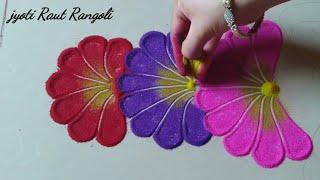 "Very easy and beautiful ""flower pot"" rangoli design by Jyoti Raut Rangoli"