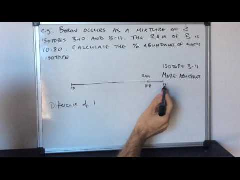 Calculating the abundance of isotopes from the relative atomic mass